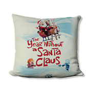 Year Without A Santa Clause Natural Linen 18 X 18 Christmas Throw Pillow