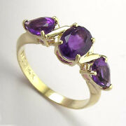 The Best Siberian Amethyst Three Stone Mother's Ring In 14k Solid Yellow Gold