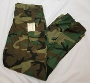 Us Gi M65 Field Pants Trousers Woodland Camo Cold Weather Xl Long Nos