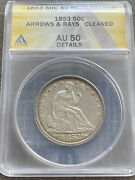 M13500- 1853 Arrows And Rays Seated Liberty Half Dollar Anacs Au50 Details