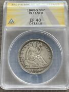 M13509- 1865-s Seated Liberty Half Dollar Anacs Xf40 Details