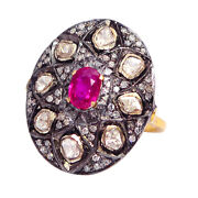 2.15ct Natural Ruby Vintage Ring 14k Gold 925 Sterling Silver Diamond Jewelry