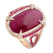 Halloween Sale 8.76ct Natural Ruby Cocktail Ring 18k Rose Gold Diamond Jewelry