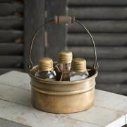 Vintage Salt Pepper And Toothpick Caddy In Antique Brass