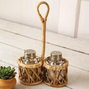 Boho Rattan Salt And Pepper Caddy With Shakers