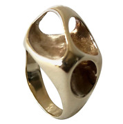 Ed Wiener Gold Abstract New York American Modernist Moon Crater Ring