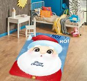 3d Santa Claus Hat A573 Christmas Game Non Slip Rug Mat Photo Carpet Zoe