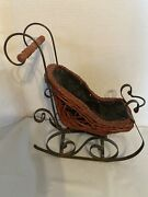 Vintage Old Fashioned Wicker And Metal Sleigh Christmas Holiday Decor