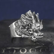 Menand039s Real Solid 999 Sterling Silver Rings Jewelry Dragon Animal Open Size 8-11