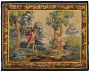 Antique French Aubusson Tapestry Wool And Silk 5and039x7and039 Area Rug 160cm X 193cm 1900