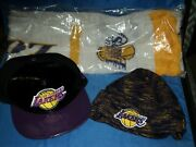 Los Angeles Lakers New Era Hat And Beanie + 2012 Winter Game Scarf Lot