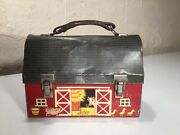 Vintage American Thermos Red Barn Metal Lunch Box In Used Condition