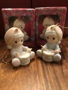 """1991 """"baby First Christmas"""" Boy And Girl Precious Moments Ornament"""