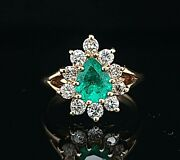 Vintage 14k Yellow Gold Ring 1.05ct. Colombia Green Emerald Pear Shape