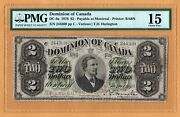 Dominion Of Canada 2 Dollars Montreal F Pmg-15 1878 P-19a Dc-9a Babn Banknote