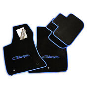 New Dodge Charger Floor Mats Blue Script Logos And Trim 4pc 2011-2021 Nice Ultimat