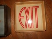 New Old Stock 1954 Atlas Electric Products Antique Vintage Glass Exit Sign Box