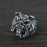Menand039s Real Solid 925 Sterling Silver Rings Jewelry Bulldog Animal Size 10 11 12