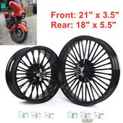 21 18 Front Rear Tubeless Cast Wheels Set For Dyna Softail Touring Gloss Black