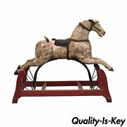 Antique Primitive Glider Rocking Hobby Horse Rustic Carved Wood Cast Iron Red