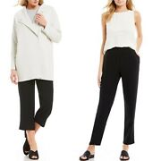 Eileen Fisher Black Silk Cropped Or Slouchy Ankle Pants