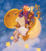 Scott Gustafson The Man In The Moon Limited Edition Canvas Whimsical Fun Art