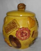 Vintage 1950s N S Gustin Los Angeles Pottery Cookies All Over Cookie Jar Yellow