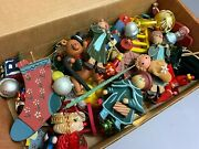 🔥l👀k Large Mixed Lot Of Vintage Wooden Glass Fabric Christmas Tree Ornaments