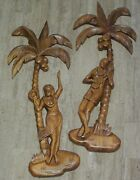 1950's Hawaii Pair Of Vintage Wood Carvings, Love, Music, Dance And Coconuts
