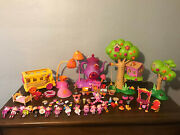 Huge Lalaloopsy Mini Doll Lot With Accessories Treehouse Train Bus Pets Tea Pot