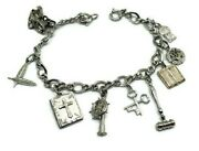 Vintage Sterling Silver Charm Bracelet With Charms 7 Bible Masonic Bell Key