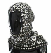 Dolceandgabbana Women Gray Hooded Scarf Wool Plastic Sequined Wrap Hat One Size