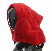 Dolceandgabbana Women Red Hooded Scarf 100 Weasel Fur Thermal Wrap Hat One Size