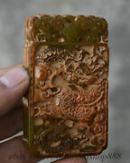 Cm Ancient Chinese Antique Dynastie Jade Sculpture Loong Pendentif Chanceux Amul