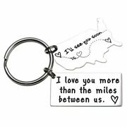 Keychains For Couples I Love You More Than The Miles Between Us Long Distanceluv