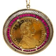 1915 Austrian 4 Ducat 0.4438oz Gold Coin In 14k Gold Pendant With 2 Ctw Ruby.