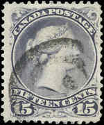 Canada Used F-vf Scott 30c Thick Paper 15c 1868-76 Large Queen Stamp W/cert
