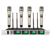 Wireless Microphone Professional 4 Channel Uhf Cordless Karaoke Microphone Mike