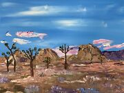 C.rees Original Joshua Tree Palette Knife Oil Painting 12 X 16 Inches Ca Sunset