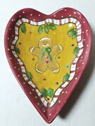 Laurie Gates Los Angeles Pottery Xmas Gingerbread Heart Shape Trinket Dish Candy