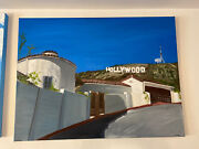 Life Under The Hollywood Sign Oil On Canvas 30 X 40andldquo Large Painting Contemporary