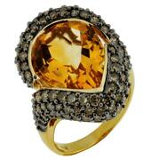 Large 14.10ct Chocolate Fancy Diamond And Aaa Citrine 14kt Yellow Gold 3d Fun Ring