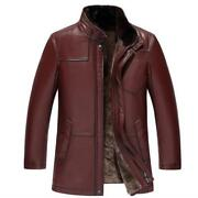 Men's Business Leisure Real Leather Cashmere Lined Parka Jackets Stand Collar L