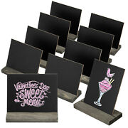 Mygift 5 X 6-inch Mini Chalkboard Signs With Vintage Wood Base Stands, Set Of 10