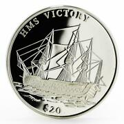 Liberia 20 Dollars Hms Victory Ship Proof Silver Coin 2000