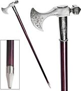 Late 18th Century Vintage Style Menand039s 925 Sterling Silver Walking Stick Cane