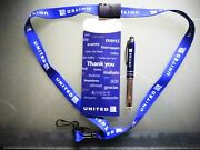 United Airlines Thank You Collector's Official Pen + United Logo Lanyard