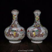 A Pair Collection China Old Antique Qing Dynasty Pastel Baby Play Pattern Vase