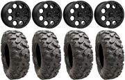 Msa Cannon Beadlock 14 Wheels Black 28 Roctane Tires Yamaha Grizzly Rhino