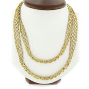 14k Gold Long Faceted Gold Open Weave Pattern Scarf 39 Long Wrap Necklace